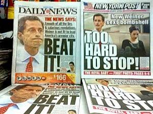New York tabloid headlines about Anthony Weiner