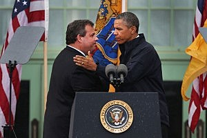 : President Barack Obama with Governor Chris Christie in Asbury Park