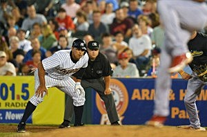 Alex Rodriguez akes a lead off first base during a rehab game for the Trenton Thunder against the Reading Fightin Phils at Arm & Hammer Park