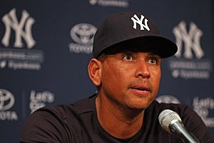 Alex Rodriguez addresses the media