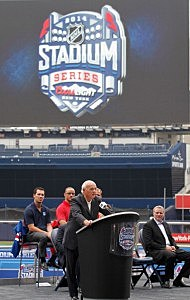 New Jersey Devils President, CEO, General Manager Lou Lamoriello addresses the media during the 2014 NHL Stadium Series Media Availabilty at Yankee Stadium