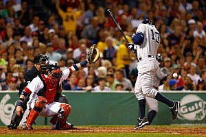 Alex Rodriguez  is hit by a pitch by Red Sox pitcher Ryan Dempster