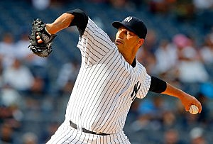 Andy Pettitte #46 of the New York Yankees
