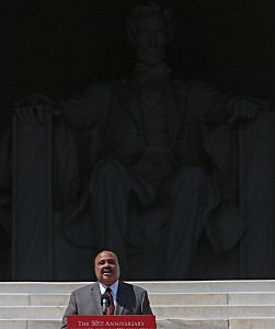Martin Luther King III speaks during the 50th anniversary of the March on Washington