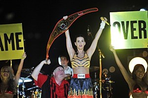 Katy Perry performs with Rob Bartlett during the 2013 MTV Video Music Awards