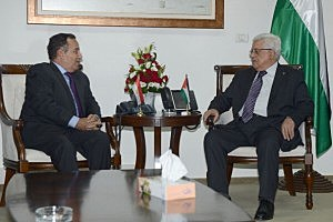 Palestinian President Mahmoud Abbas (L) meets with the Egyptian Foreign Minister Nabil Fahmy  in Ramallah, West Bank.
