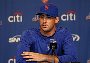 Matt Harvey talks to the media about his partially torn ulnar collateral ligament (UCL)