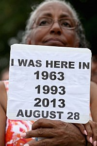 Betty Waller Gray (C) of Richmond, Virginia, listens during the 'Let Freedom Ring Commemoration and Call to Action'