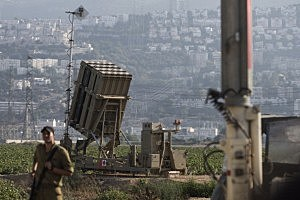 Iron Dome missile battery seen in industrial area of Haifa