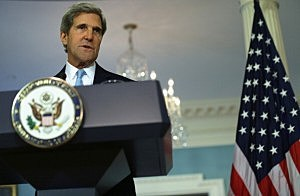 Secretary of State John Kerry makes a statement at the State Department