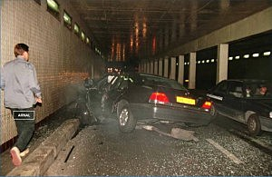 Car carrying Princess Diana and Dodi Al Fayed after crashing in a Paris tunnel in 1997
