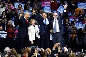 A 2009 New Jersey campaign rally with Cory Booker (L), U.S. Sen Loretta Weinberg (D-NJ) (2L), U.S. President Barack Obama (2R), and New Jersey Gov. Jon Corzine