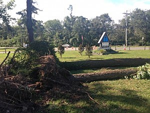 Damage to the grounds of the Manahawkin Baptist Church