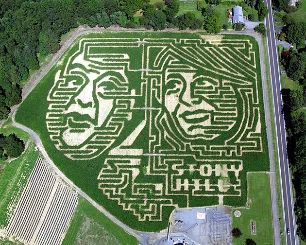 Gov Chris Christie and Barbara Buono Corn Maze Photo