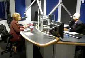 Senator Barbara Buono (D) with Tom Mongelli in the Townsquare Media NJ Toms River studios