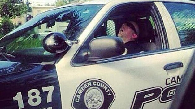 Camden County Police officer in cruiser