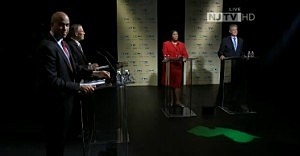 (L-R) Cory Booker, Rush Holt, Sheila Oliver and Frank Pallone at Montclair University for special Senate election debate