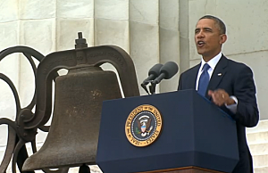 President Obama addresses the 50th anniversary of the 1963 March on Washington at the Lincoln Memorial