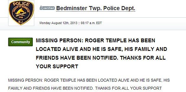 Nixle message from Bedminster Police