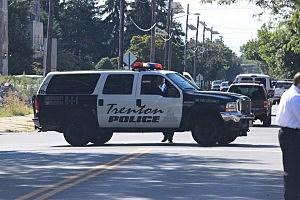 Trenton police cruiser during Thursday's shooting