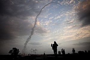 An Israeli missile from the Iron Dome defense missile system launched in 2012