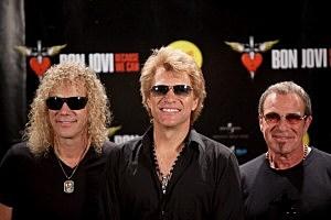 (L-R) David Bryan, Jon Bon Jovi and Tico Torres of Bon Jovi