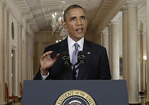President Barack Obama addresses the nation in a live televised speech from the East Room of the White House