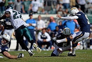 Nick Novak #9 of the San Diego Chargers kicks the game-winning field goal against the Philadelphia Eagles
