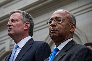 New York City mayoral hopeful Bill Thompson (R), and New York City Democratic mayoral candidate Bill De Blasio