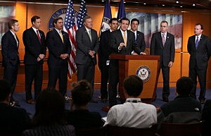 Sen. Ted Cruz (R-TX)(C) is flanked by House Republicans while speaking about Obamacare during a news conference on Capitol Hill,