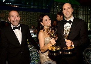 Julia Louis-Dreyfus, winner of the Best Lead Actress In A Comedy Seriers Award for 'Veep' and actor Tony Hale, winner of the Best Supporting Actor in a Comedy Series Award for 'Veep'