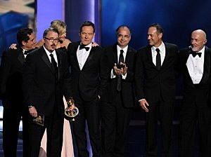 Writer/producer Vince Gilligan (L) and cast and crew of 'Breaking Bad' appear onstage during the 65th Annual Primetime Emmy Awards