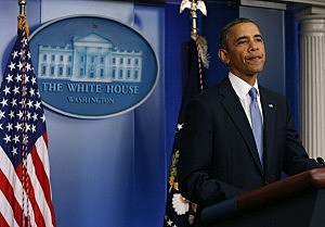 . President Barack Obama speaks to the media about the possibility of a government shut down