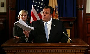 Governor Chris Christie presents a 33-bill package of reforms aimed at solving New Jersey's property tax crisis  at the Statehouse in 2010