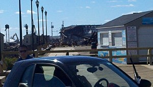 Rubble on the boardwalk looking south from Lincoln Avenue