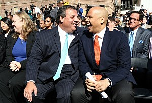 Governor Chris Christie and Mayor Cory Booker share a laugh