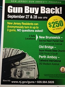 Poster promoting Middlesex County gun buyback