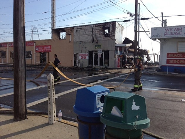 The burned building of Three Brothers Pizza in Seaside