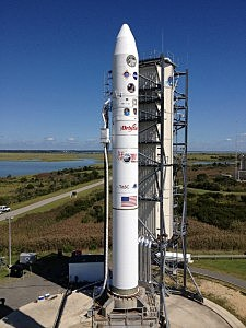 The support gantry for the U.S. Air Force-provided Minotaur V rocket that will launch NASA's Lunar Atmosphere and Dust Environment Explorer (LADEE)