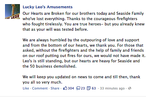 Lucky Leo's Facebook Message to Seaside Fire Dept.