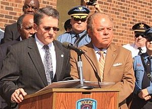 (L-R) Acting Attorney General John J. Hoffman and Mercer County Prosecutor Joseph Bocchini Jr.