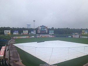 The tarp on the field at FirstEnergy Park in Lakewood as the BlueClaws final game of the season is canceled due to today's rain.