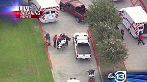 Aerial view of shooting at Spring High School in Houston