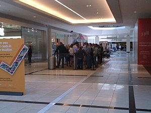 The lineup for the iPhone 5 at the Apple Store inside the Quakerbridge Mall in Lawrence