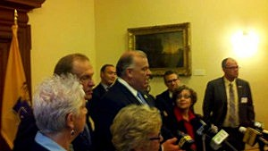 Steve Sweeney speaks at Democrat press conference on gay marriage ruling