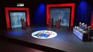 Stage at Montclair University for gubernatorial debate
