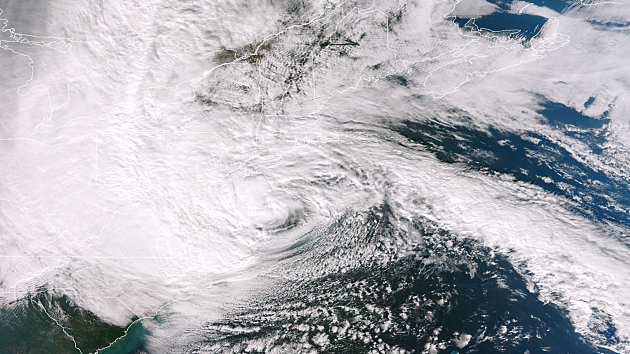 Satellite picture of Hurricane Sandy approaching New Jersey in 2012.