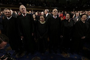 (L-R) Supreme Court Justices, Chief Justice John Roberts, Anthony Kennedy, Ruth Bader Ginsburg, Stephen Breyer, Sonia Sotomayor and Elena Kagan