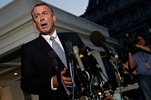 U.S. Speaker of the House Rep. John Boehner (R-OH) speaks to the media after a meeting at the White House