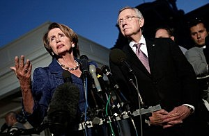 U.S. House Minority Leader Rep. Nancy Pelosi (D-CA) (L) and U.S. Senate Majority Leader Sen. Harry Reid (D-NV)